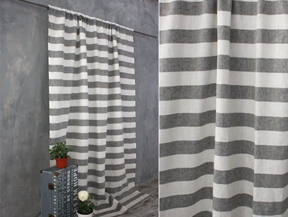striped linen curtain in grey and white linen curtains linen window