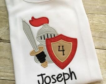 Knight birthday shirt - Birthday party shirts boys - 4th birthday shirt - Boy birthday outfit - Knight party - Birthday bodysuit