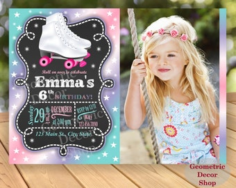 Roller Skates Birthday Invite Invitation Pink green Purple Teal Aqua Girl Printable chalkboard Photo Photograph BDRS2