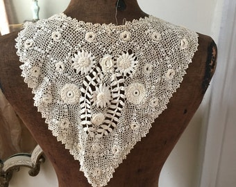 Antique handmade lace irish crochet collar