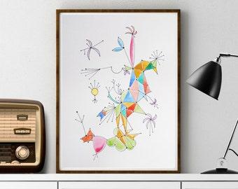 Art, Modern Abstract, MCM Inspired Art, Atomic Art, Mid Century Modern Artwork, Mid Century Drawing, Futuristic Art, Retro Art, Retro Style