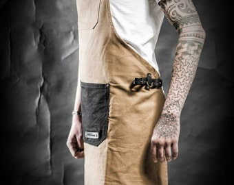 Waxed canvas and leather apron by Kruk Garage Men's apron Work apron Barista apron Barber apron Men gift Christmas gift Birthday gift