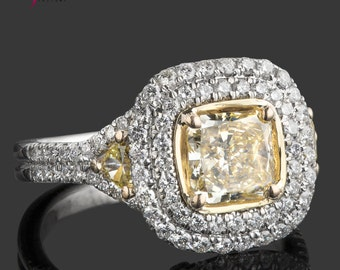 Radiant Cut Diamond Ring, 2.34 TCW, Halo  Radiant Ring, Yellow Trillion Cut Diamond Ring, Engagement Ring, Double Halo, 18k Two-Tone Gold