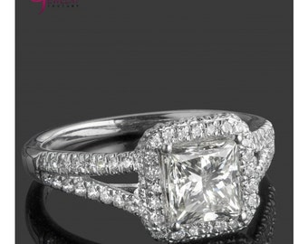 2.12 TCW Princess Cut Diamond Engagement Ring, Halo Ring, Natural Diamond Engagement Ring, Split Shank Ring, 18k White Gold Ring