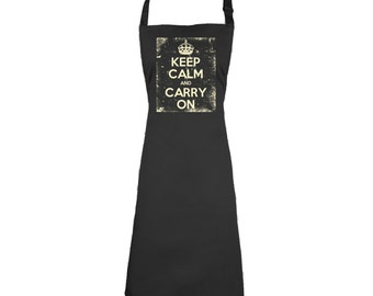 Keep Calm And Carry On Apron Official Merchandise Distressed Cooking Chef Food  Apron British English Uk Royal Family Culinary Gourmet Apron