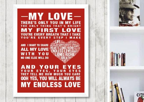 Lionel Richie Endless Love Music Song Lyrics Word Art Print