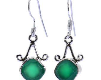Green Onyx Earrings, 925 Sterling Silver, Unique only 1 piece available! color green, weight 3.3g, #38361
