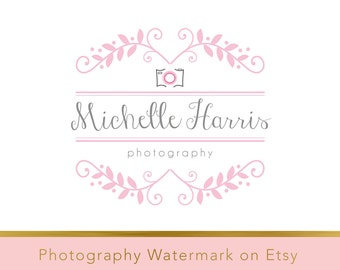 Instant download logo - DIY Pre-made Logo - Photo Watermark - Photography Logo - Watermark - Whimsical Logo - Camera Logo - Wreath logo 186