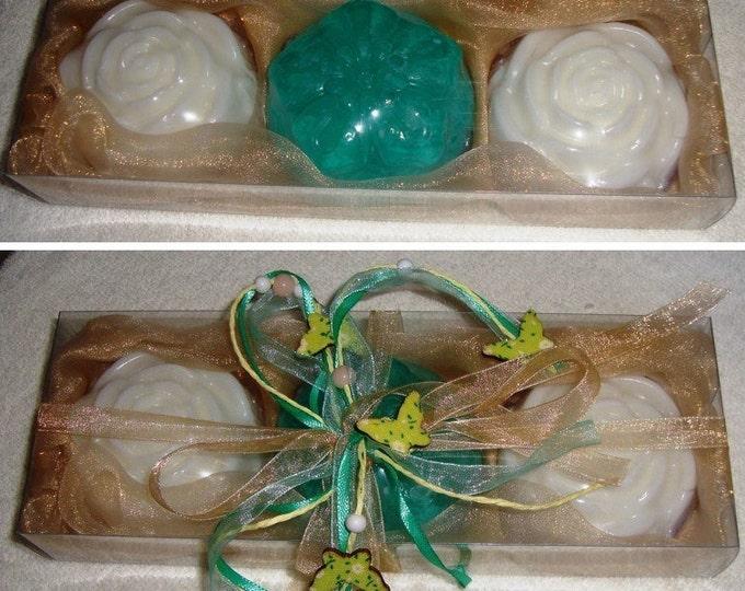 Aqua Beige White Handmade Soaps Gift Set, Luxury Flower Glycerin Scented Soap, Summer Gift, Beauty Gift Set, Graduation Gift, Get well Gift