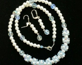Pearls and Crystals  Necklace and Earrings set