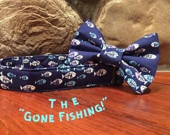 Dog collar, Fish dog collar, collar bow tie, fish bow tie, dog bow tie, fishing dog collar, blue dog collar, fishing bow tie, collar tie