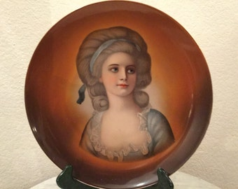 """Antique, Gorgeous Handpainted Large Portrait  """"Countess Potocka"""". Made In Germany."""