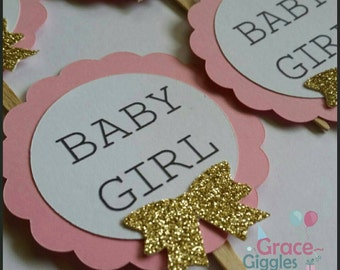 12 Baby Girl Glitter  Cupcake Toppers, Babyshower Cupcake Toppers