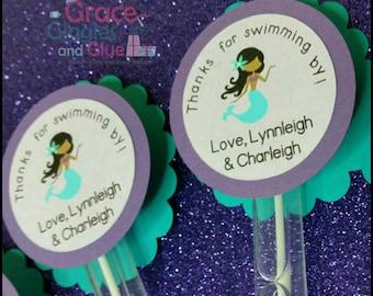 6  Mermaid Themed Bubble Favors, Under the Sea Favors, Bubble Favors