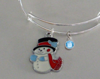 Snowman CHRISTMAS Bangle W Birthstone - Adjustable BANGLE -Personalize Your Expandable Bracelet - Gift For Her - Under 20 USA  W1