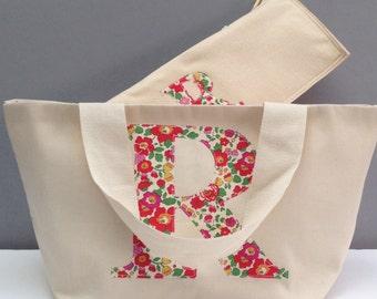 Liberty Print Initial Knitting Bag Set/Personalised Knitting Project Bag/Monogram Knitting gift/ Knitting project bag / gift for mum/yarnbag