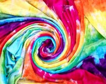 Bright Rainbow Handdyed Cotton Velour