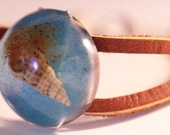 leather bracelet - sand and sea