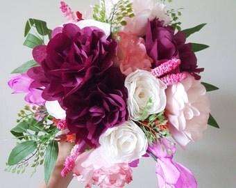Custom Bridal Bouquet- Paper Wedding Flower Bouquet- Paper Peonies, Roses, Freesia, Anemones- Paper Flower Bridal Bouquet