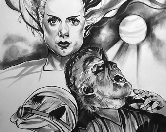 Universal Monsters Set of three A4 Art Print