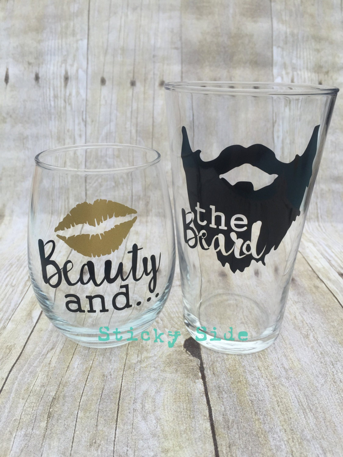 Beauty And The Beard Couple Glass Set Engagement By Stickyside