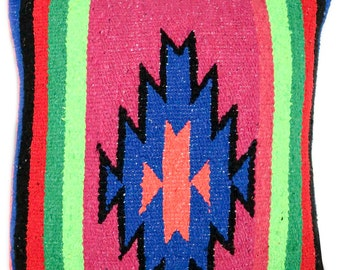 Yucatan Zapotec Diamond Pillow // Blue