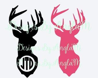 SVG  Deer Monogram Initials  & Solid  Deer  SVG Digital cutting file  Instant Download - Use on your cutting machine
