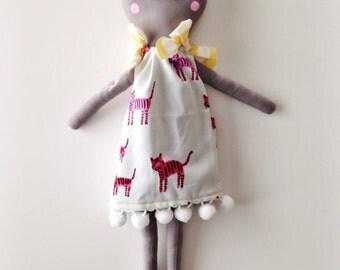 OOAK Stuffed plush cat doll, Kitty Doll, Cloth doll