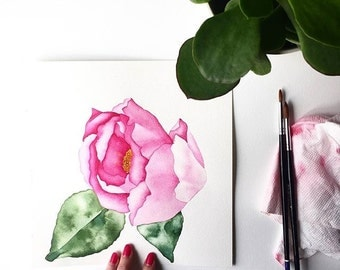 Watercolor Camellia, Botanical Illustration Print