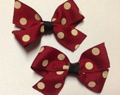 """Pigtail set of 2 bows - 3"""" Cranberry red polka dot beige black hair bow clip Baby toddler teen minnie mouse Valentine's Day birthday party"""