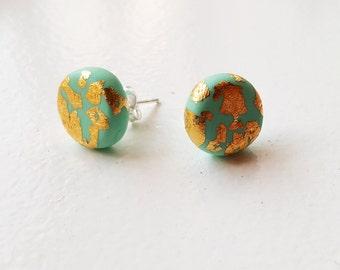 Blue and gold leaf stud earrings