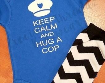 Keep Calm and Hug a Cop, Fireman, Soldier, Marine Bodysuit