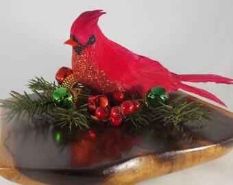 Woodland Decor, Christmas Decor, Holiday Centerpiece, Cardinal Decor, Woodland Home Decor, Rustic Decor, Bird Figurine