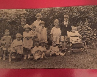 Vintage Photo Post Card - Early 1900s - Children with stroller and trycicle - Identified and Authentic