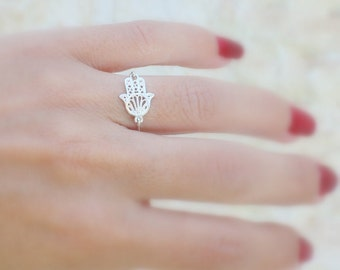 Hamsa ring - High quality sterling silver hamsa ring