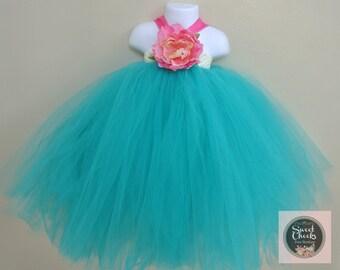 Teal flower girl dress, Teal flower girl tutu dress, Tutu dress, Turquoise Flower girl, Flower girl tutu, Teal tutu, Pink and Teal tutu