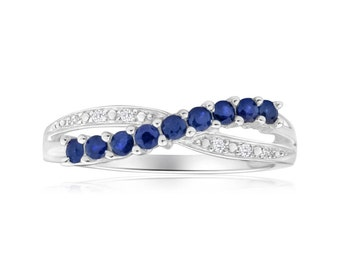 Sapphire and Diamond Crossover Ring in 14ct White Gold Vintage