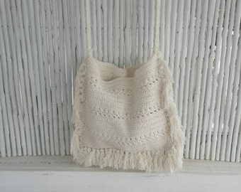 Summer: Crochet Mediem Boho shoulder bag, crochet rectangle fringe bag, crochet messanger bag, crochet beach bag