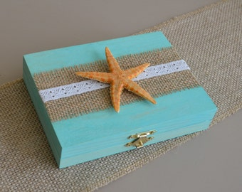 Beach Wedding Ring Wooden Box Ring Bearer Pillow Shabby Chic Rustic Burlap Lace Starfish Nautical Wedding