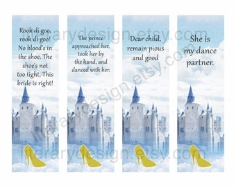 Cinderella Printable Bookmarks - Brothers Grimm - Book Quotes - Digital Download - Gift for Readers - Classic Literature - Princess Bookmark