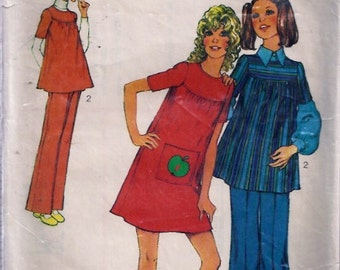 Young Junior Teens' Dresss or Smock and Trousers Pattern - Style no 3756