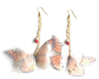 Orange Silk Earrings