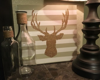 Stripes and Glitter Deer Silhouette Canvas