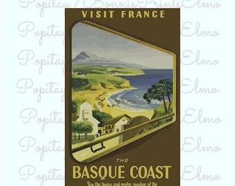 France Travel Poster, Basque Coast Print, French Wall Art, France Travel Decor, Home Wall Art, Vintage French Art, Retro Basque Coast Art