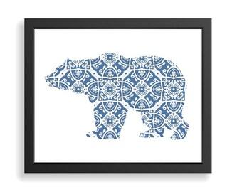 Bear Wall Art, Nursery Wall Art,Bear Art Print, Kids Wall Art, Abstract Bear Print, Baby Boy Nursery,Nursery Decor, Bear Silhouette Art