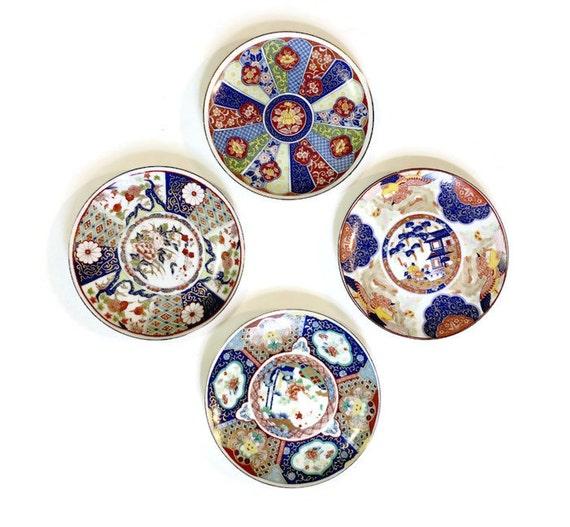 Decorative Wall Plates Set Of 4 : Vintage decorative asian plates set of japanese imari