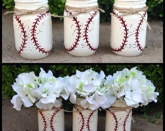 Set of 3 hand painted BASEBALL mason jars! Home decor-Sports Decor-Boy Sports Nursery-Baseball Nursery-Shower-Sports Birthday-Quart Size