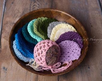 Jenessa Newborn bonnet, Newborn bonnet, Baby bonnet, pink bonnet, blue bonnet, purple bonnet, Newborn photography prop