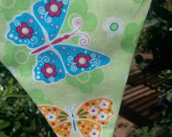 Butterfly and check bunting banner