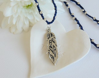 Hand Crafted Fine Silver Feather and Silver Ball Plait Necklace